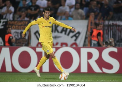 Thessaloniki, Greece - September 20, 2018. Chelsea's striker Alvaro Morata in action during an UEFA Europa League match between PAOK FC and Chelsea FC.