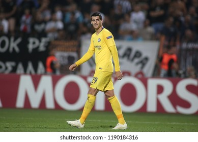 Thessaloniki, Greece - September 20, 2018. Chelsea's striker Alvaro Morata during an  UEFA Europa League match between PAOK FC and Chelsea FC.