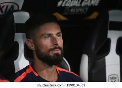 Thessaloniki, Greece - September 20, 2018. Chelsea's forward Olivier Giroud sits on the bench during an UEFA Europa League match between PAOK FC and Chelsea FC.