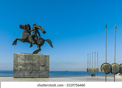 THESSALONIKI, GREECE - SEPTEMBER 22, 2019:  Alexander the Great Monument at embankment of city of Thessaloniki, Central Macedonia, Greece