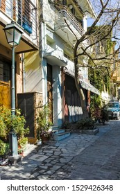 THESSALONIKI, GREECE - SEPTEMBER 22, 2019: Typical street and building at Ano Poli (Upper Town) in city of Thessaloniki, Central Macedonia, Greece