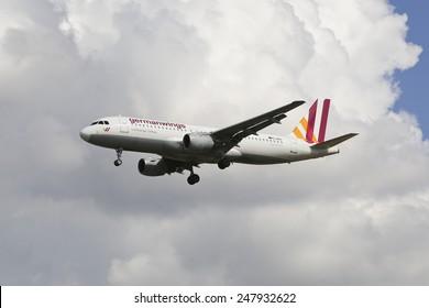 THESSALONIKI, GREECE - September 4, 2014: Germanwings, Airbus A320-200 D-AIQS   aircraft landing at International Airport 'Makedonia', Greece