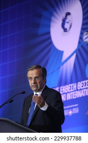 THESSALONIKI, GREECE - SEPTEMBER 6, 2014: Greece's Prime Minister Antonis Samaras delivers a speech during the opening 79th International Fair (TIF), in Thessaloniki