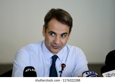 Thessaloniki, Greece - September 6, 2018. Kyriakos Mitsotakis President of New Democracy party and leader of the Greek opposition during a meeting with productive entities of northern Greece.
