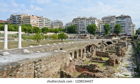 Thessaloniki, Greece - September 8, 2015: Roman Agora Thessaloniki