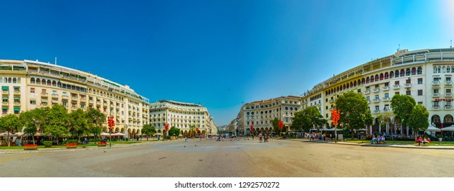 THESSALONIKI, GREECE, SEPTEMBER 8, 2017: People are walking on the Aristotelous square in Thessaloniki, Greece