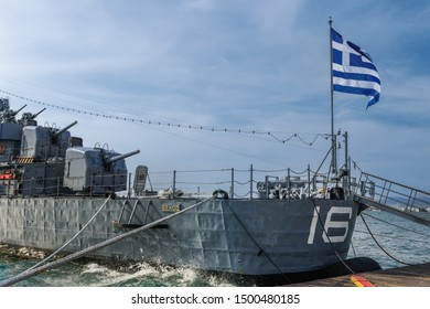 Thessaloniki, Greece - September 9 2019: Greek warship destroyer Velos D-16 at waterfront. Currently a floating museum operated by Hellenic Navy, the ship launched in 1941 as USS Charrette DD-581.