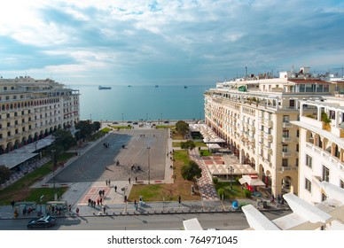 THESSALONIKI - NOV 18: Panoramic view of Thessaloniki and Aristotelous Square on November 18. 2017 in Greece