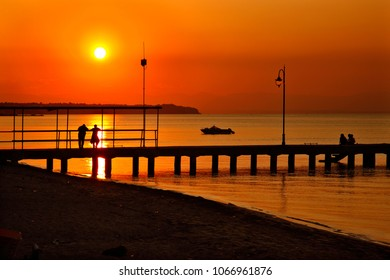 THESSALONIKI PREFECTURE, MACEDONIA, GREECE. The jetty in Peraia, a beautiful place for a romantic walk in the Thermaikos gulf, close to Thessaloniki city