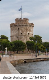 Thessaloniki/Greece - July 27th 2018: View of the White Tower of Thessaloniki