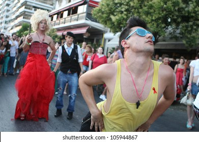 THESSALONIKI,GREECE - JUN,23: Participants of the first gay pride march through the city of Thessaloniki on June 23, 2012 in Thessaloniki, Greece.