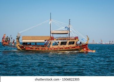 Thessaloniki/Greece-July 6, 2019 The Argo wooden tourist boat, legendary galley copy for tourist cruises off the coast of Thessaloniki. The Argonauts were a band of heroes in Greek mythology.