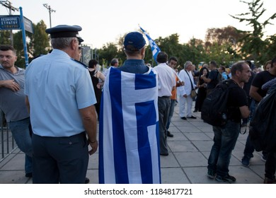 Thessaloniki/Greece-September 15.2018: Demonstration about the name of Macedonia aoutside of Velidio Conference Center during the speech of Kyriakow Mitsotakis.