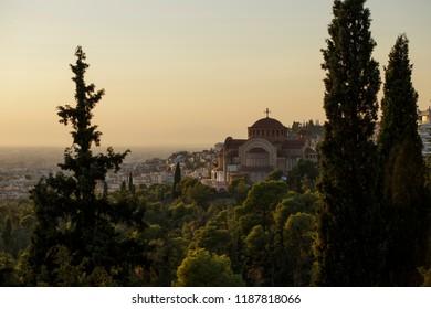 Thessaloniki/Greece-September 24.2018: The church of Agios Pavlos(Saint Pavlos) in the neighborhood of Sukies in Thessaloniki.