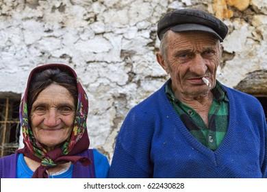 THETH VILLAGE, ALBANIA - APRIL 3, 2017: Albanian elderly couple, in Theth Village, Albania.