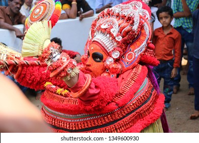 Theyyam, KANNUR - FEB 04: A Theyyam artist performs during the annual festival at Ramapuram Padinjatta temple on February 4, 2019 in Kannur, India.Theyyam is a ritualistic folk art form of Kerala -