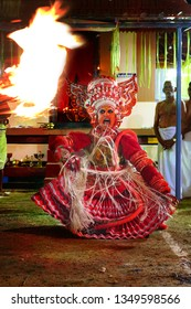 Theyyam, KANNUR - FEB 07: A Theyyam artist performs during the annual festival at Thidil Bhagavathi temple on February, 2019 in Kannur, India.Theyyam is a ritualistic folk art form of Kerala -