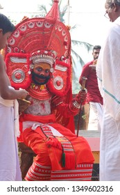 Theyyam KANNUR - JAN 12: A Theyyam artist performs during the annual festival at Eramam, Kaninjery Bhagavathi temple on January12,2017 in Kannur, India.Theyyam is a ritualistic folk art form of Kerala