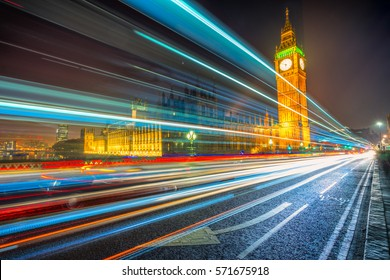 Thge Big Ben, House of Parliament and traffic light trail, London, UK