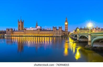 Thge Big Ben, the House of Parliament and the Westminster Bridge, London, UK