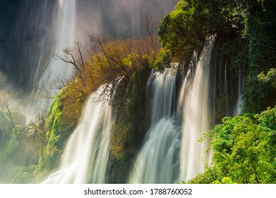 Thi Lo Su Waterfall, Beautiful waterfall in deep forest, Umphang National Park, Tak Province, Thailand.