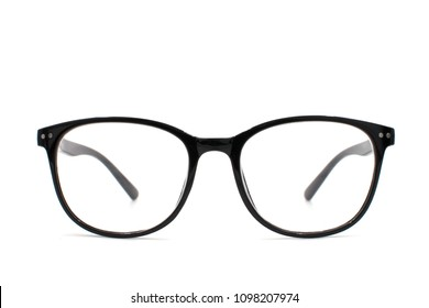Thick black glasses on white background