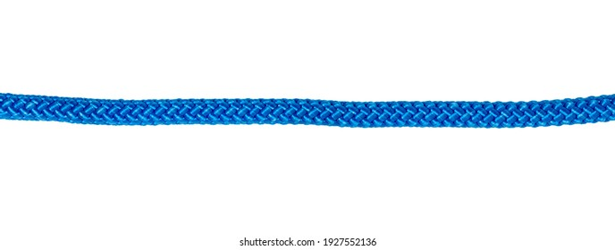 Thick blue braided rope for mountaineering and belaying on white background in panoramic format. Rope in line