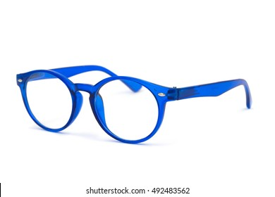 Thick blue glasses on white background