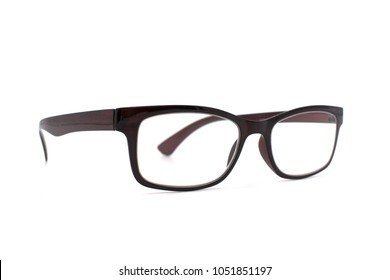 Thick brown glasses on white background