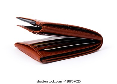 Thick brown leather wallet on documents - Shutterstock ID 418959025