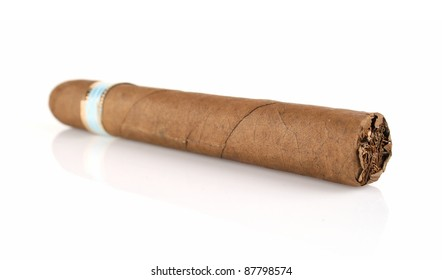 thick cigar isolated on white background