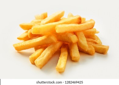 Thick cut straight golden fried French fries, Pommes Frites or potato chips on a white background suitable for a menu at a restaurant or cafeteria