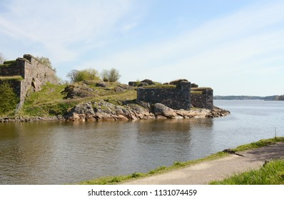 Thick defensive stone walls on the fortress island of Suomenlinna, Finland