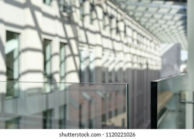 Thick glass in the corridor of a modern building