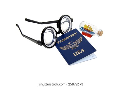 Thick lenses on black frames often worn by nerds, Passport and ship in a bottle
