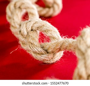 thick linen gray rope, details and structure of the rope close-up, used for different purposes