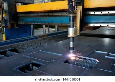 Thick metal cutting plasma technology cutting machine, metal cut  process, carpentry metalwork industry, spark blaze