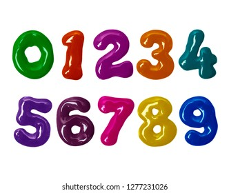 Thick numbers made of colorful glaze in high resolution (part 2. Numbers)