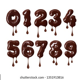 Thick numbers made of melted chocolate with falling drops in high resolution (part 2. Numbers)