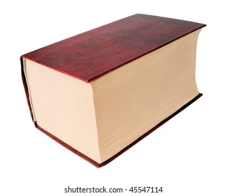 Thick red book on white background (isolated with path).