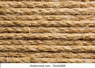 Thick shaggy parallel twisted sisal rope texture