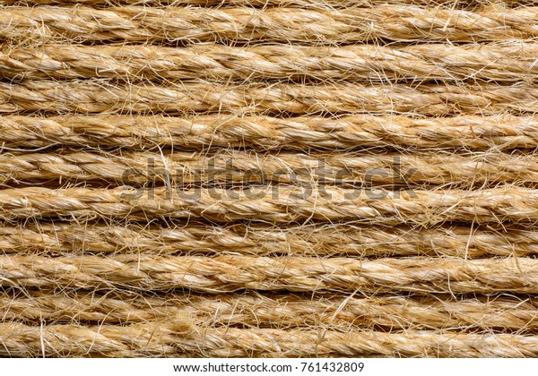 Thick Shaggy Parallel Twisted Sisal Rope Stock Photo (Edit