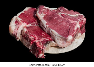 Thick slice of meat with bone from chianina cow