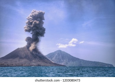 Thick smoke from the Anak Krakatau volcano eruption contains a lot of ash vapor and pyroclastic material