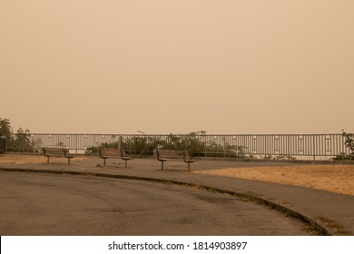 Thick smoke haze above Alki Beach, Seattle on September 12, 2020