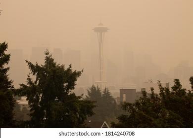 Thick smoke haze above Space Needle on September 12, 2020, Seattle, WA, USA