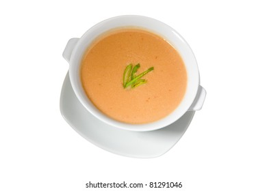 thick soup in white bowl isolated on white background