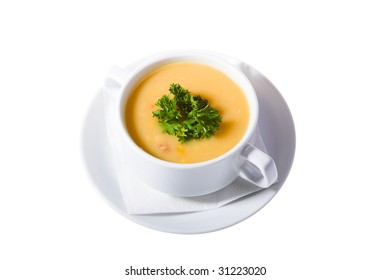 thick soup in white isolated on white background