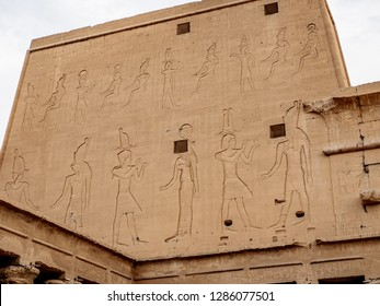 The thick walls of Temple of Horus also known as Temple of Edfu / Idfu
