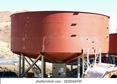 Thickener tank and froth flotation of the industrial plant for copper mine. Froth flotation is a process for selectively separating hydrophobic materials from hydrophilic.